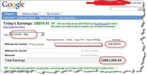 googleadsense kazanc ekrani Google Adsense Rehberi ile ayda 5000$ kazanmak mümkün müdür?