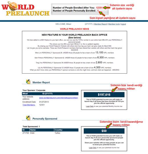 world prelaunch kazanc World Prelaunch Network Marketing Sistemi ile Otomatik Üye ve Kazanç Fırsatını Kaçırmayın